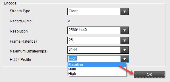 Set H.264 as Baseline