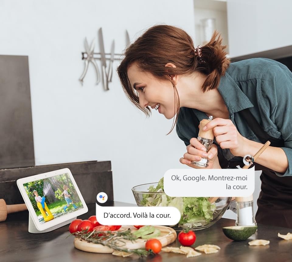 Caméra de Surveillance Compatible avec Google Assistant