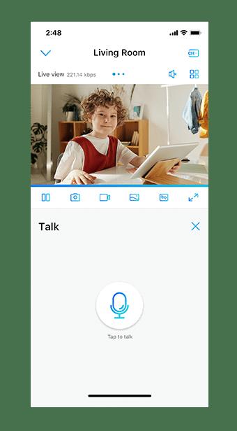 Live-Ansicht beim Lernen der Kinder über Reolink App