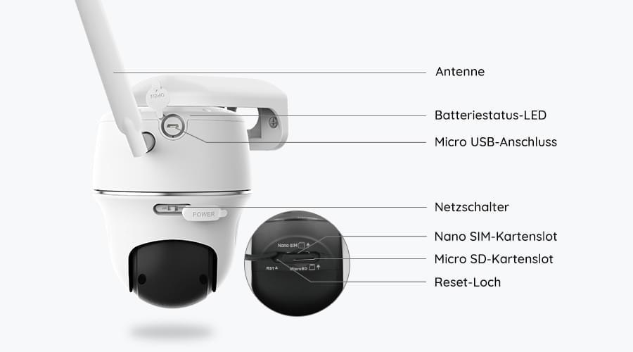 Beste 4G Outdoor Überwachungskamera mit Micro SD-Kartenslot