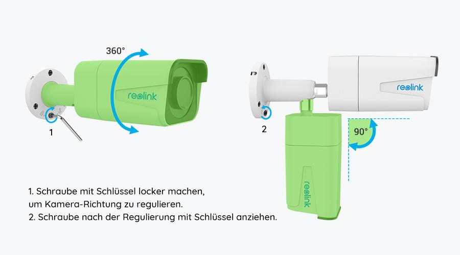 Reolink Bullet PoE IP Kamera - Richtungseinstellung