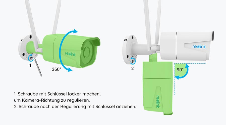 Reolink Bullet WLAN IP Kamera - Richtungseinstellung