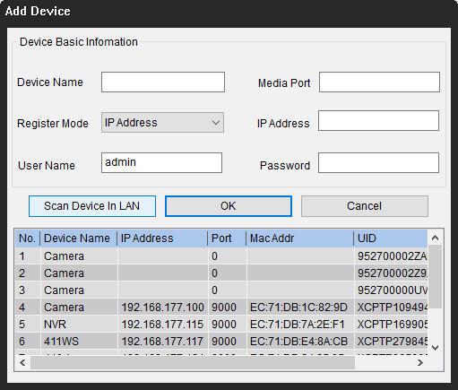 IP-Adresse der Kamera