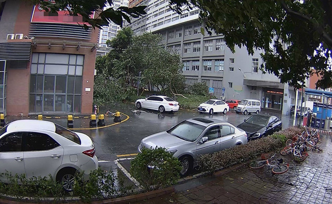 Typhoon Recorded By Security Camera