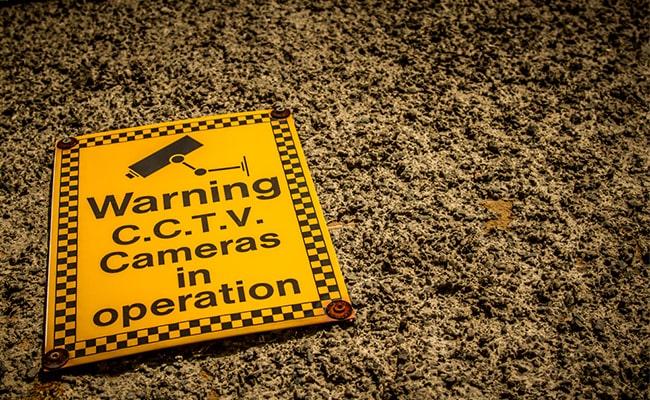 CCTV Warning Sign in the Yard