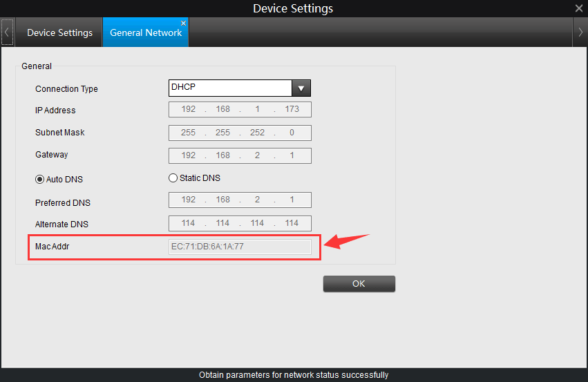 IP Camera Mac Address